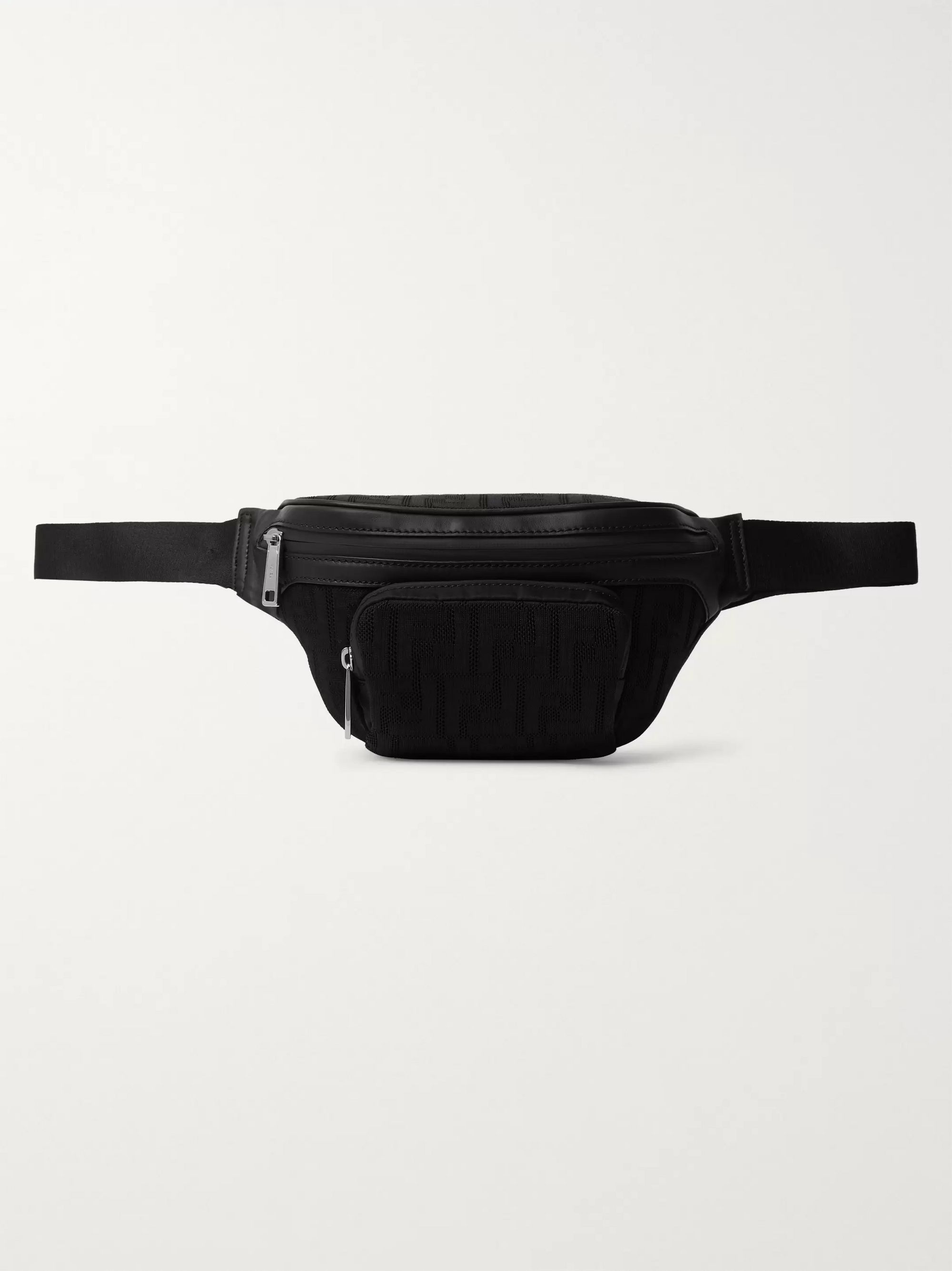 Fendi Leather-Trimmed Logo-Jacquard Mesh Belt Bag
