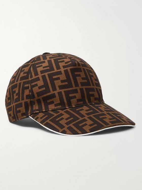 Fendi Logo-Jacquard Coated-Canvas Baseball Cap