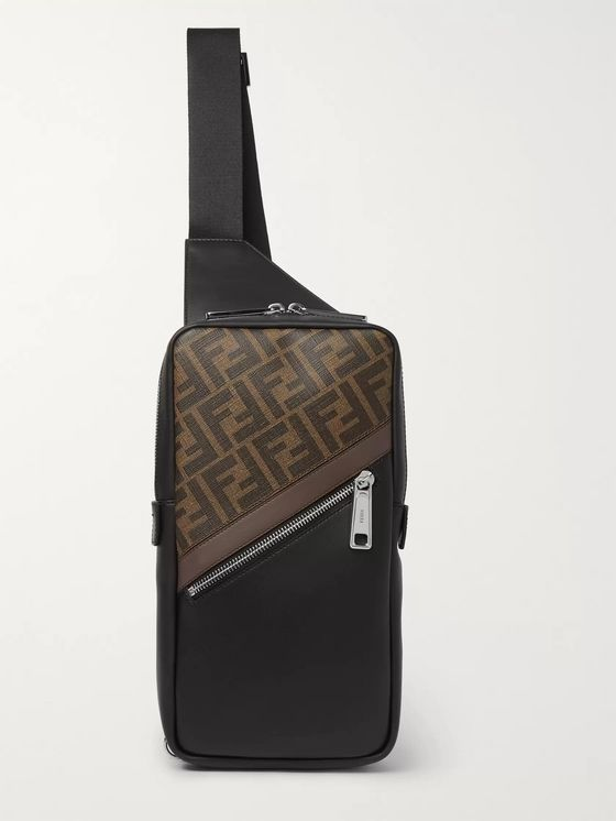 Fendi Logo-Print Coated-Canvas and Leather Sling Bag