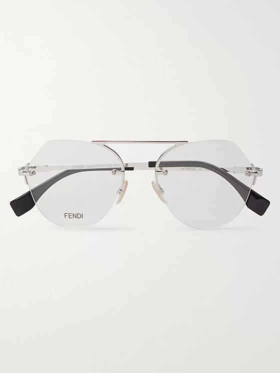 Fendi Rimless Round-Frame Silver-Tone Optical Glasses