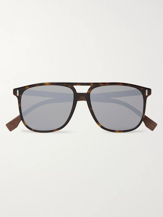 Fendi Aviator-Style Acetate Mirrored Sunglasses