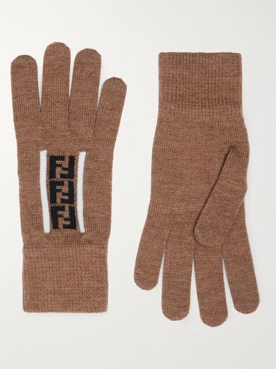 Fendi Logo-Jacquard Virgin Wool Gloves