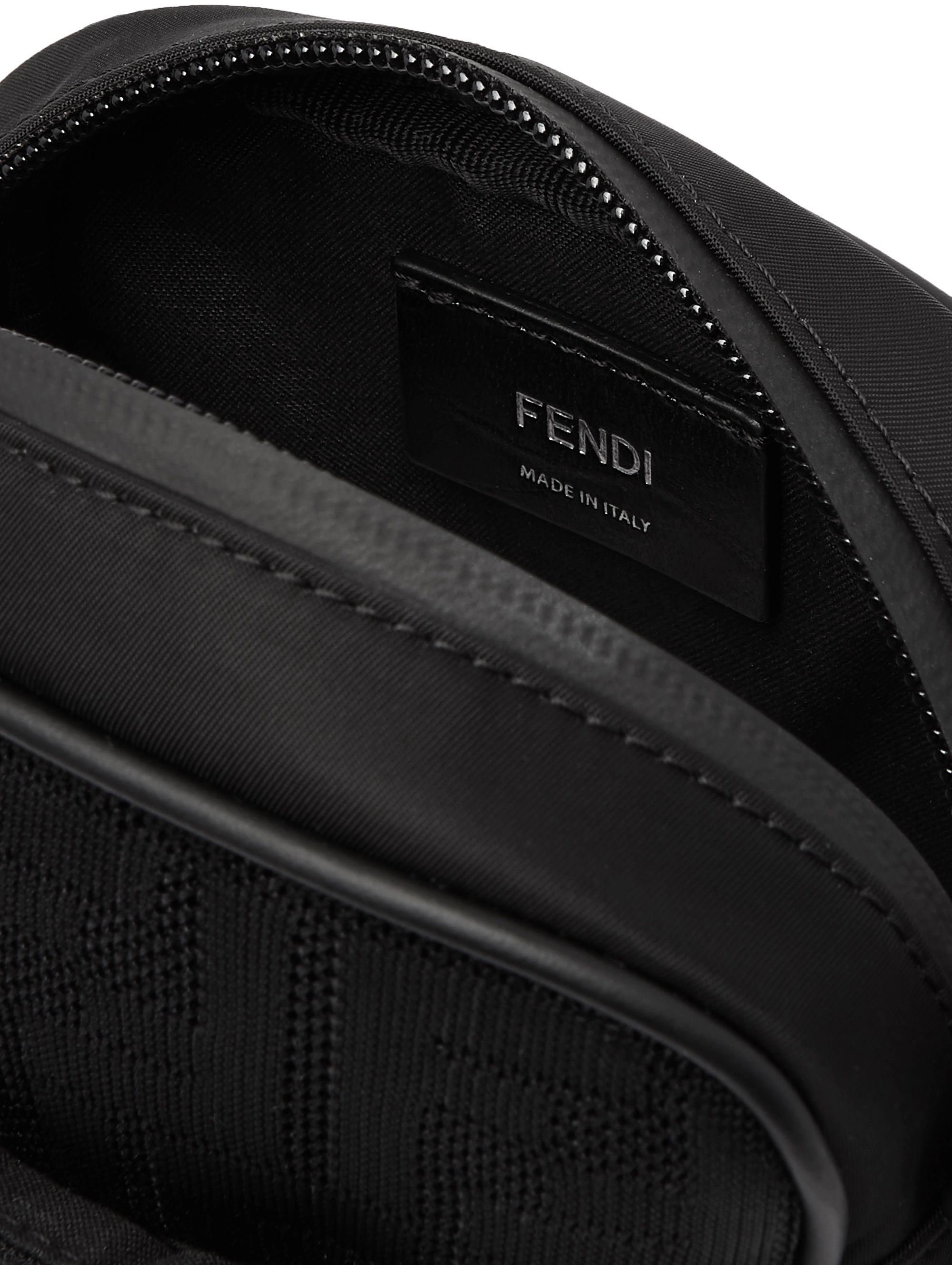 Fendi Mini Leather-Trimmed Logo-Jacquard Mesh Messenger Bag