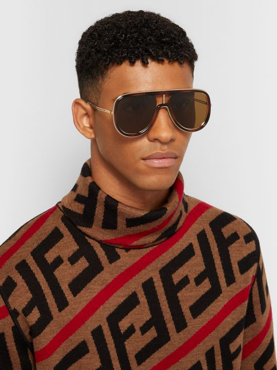 Fendi Aviator-Style Tortoiseshell Acetate and Gold-Tone Sunglasses