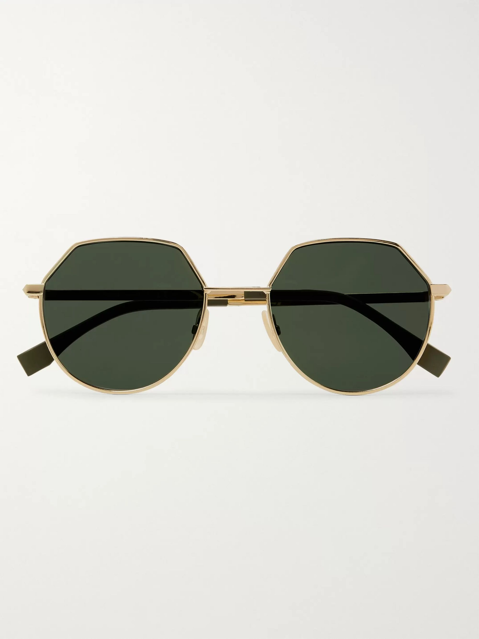 Fendi Round-Frame Gold-Tone Sunglasses
