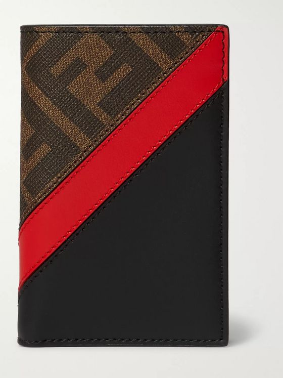 Fendi Logo-Jacquard Coated-Canvas and Leather Bifold Cardholder