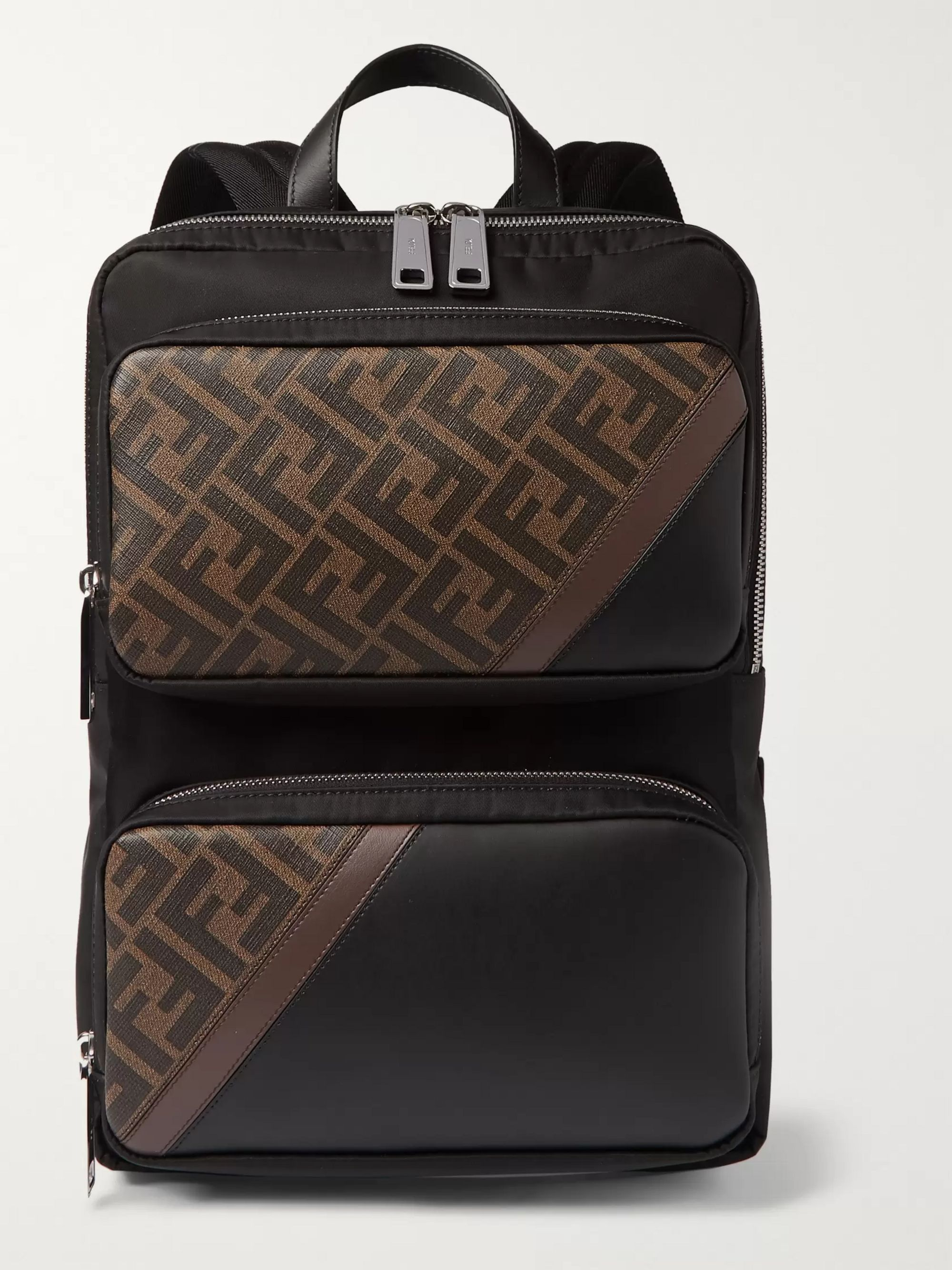 Fendi Leather and Coated Canvas-Trimmed Shell Backpack