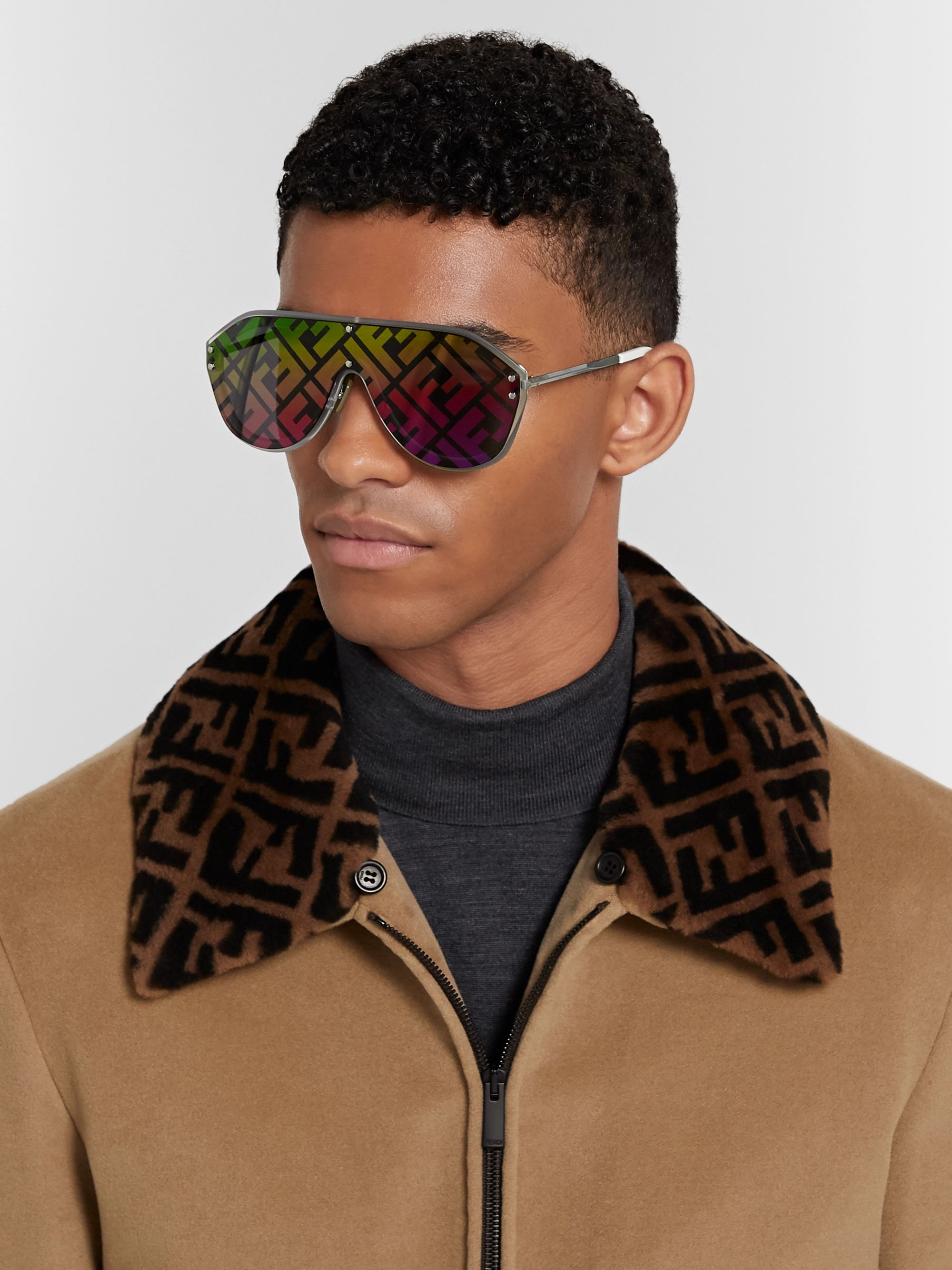 Fendi Logo-Print Aviator-Style Acetate and Silver-Tone Sunglasses