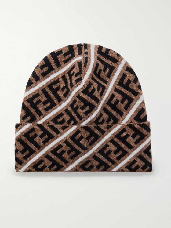 Fendi Logo-Jacquard Virgin Wool Beanie