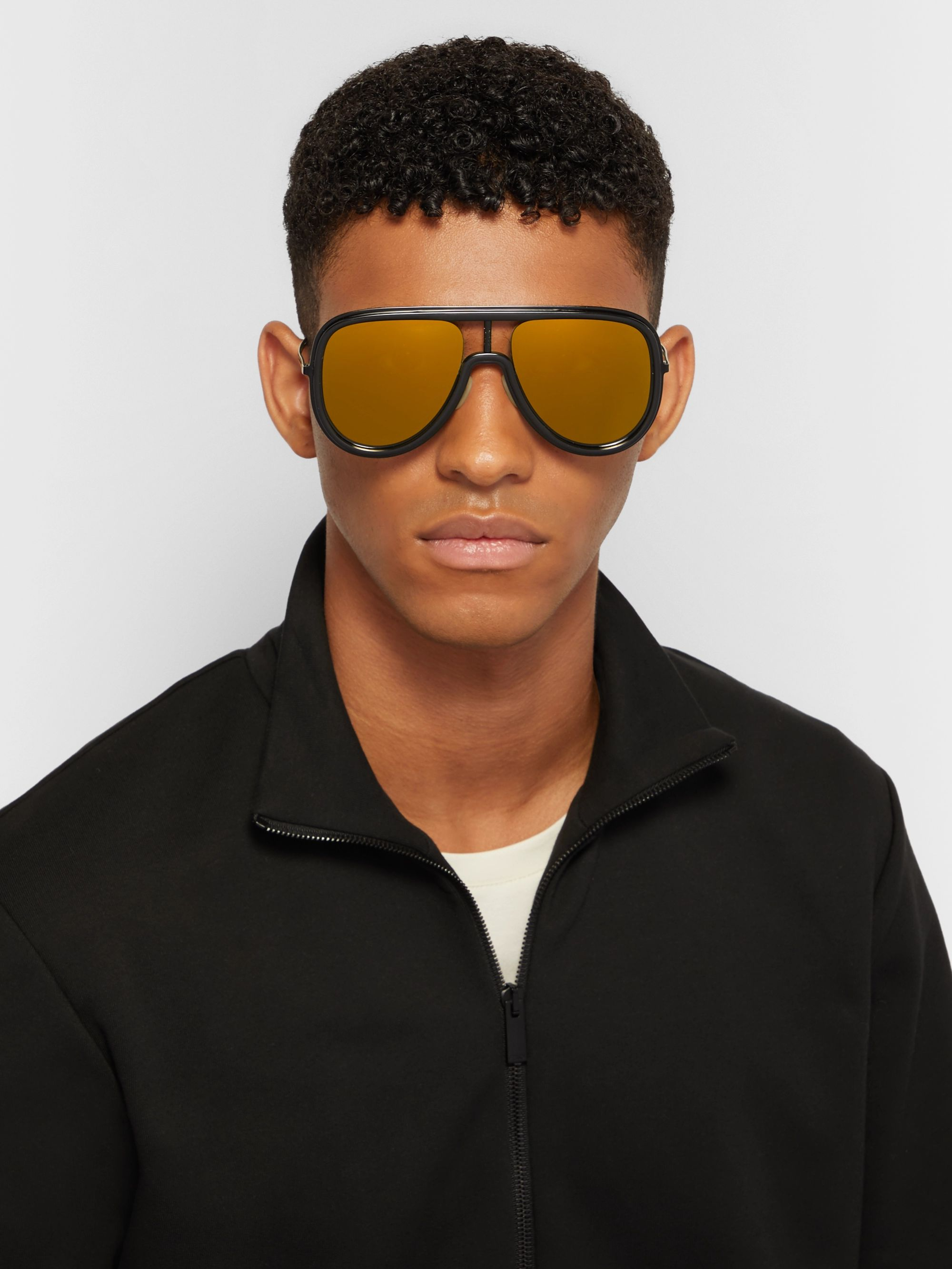 Fendi Aviator-Style Acetate and Metal Mirrored Sunglasses