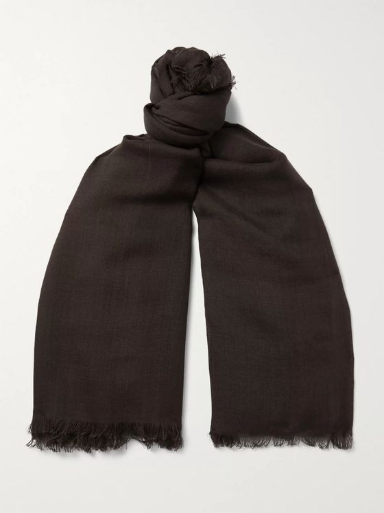 TOM FORD Logo-Embroidered Wool and Silk-Blend Scarf