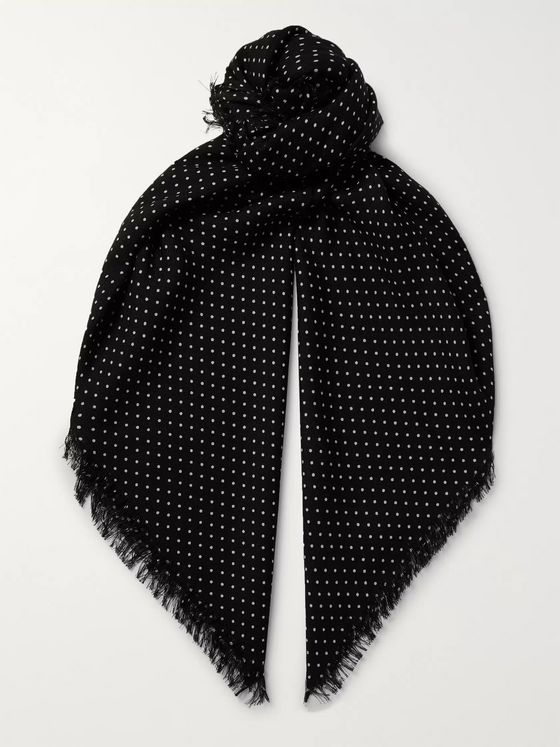 TOM FORD Polka-Dot Wool, Silk and Cashmere-Blend Scarf