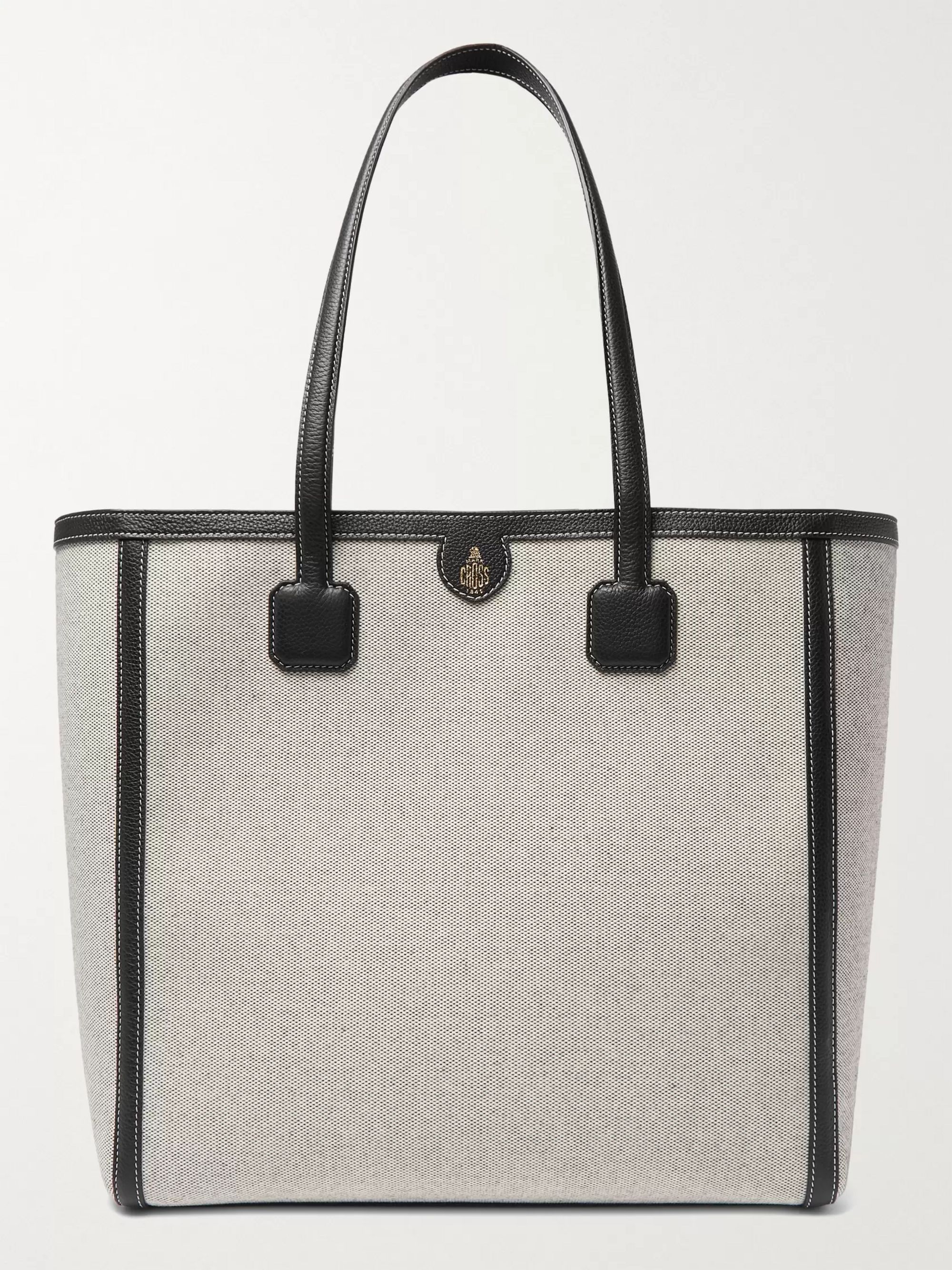 Mark Cross Antibes Full-Grain Leather-Trimmed Canvas Tote Bag