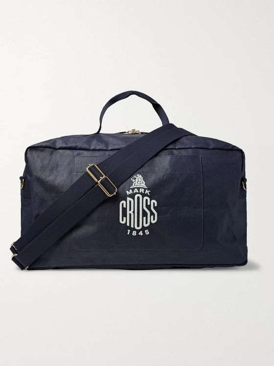 Mark Cross Weatherbird Logo-Embroidered Waxed-Canvas Duffle Bag