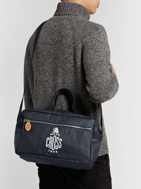 Mark Cross Weatherbird Logo-Embroidered Waxed-Canvas Messenger Bag