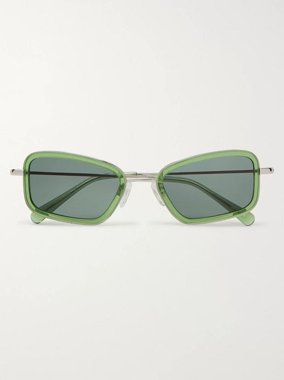 Sun Buddies River Rectangle-Frame Acetate and Silver-Tone Sunglasses