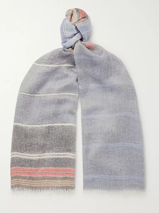 Begg & Co Staffa Fringed Striped Cashmere and Silk-Blend Scarf
