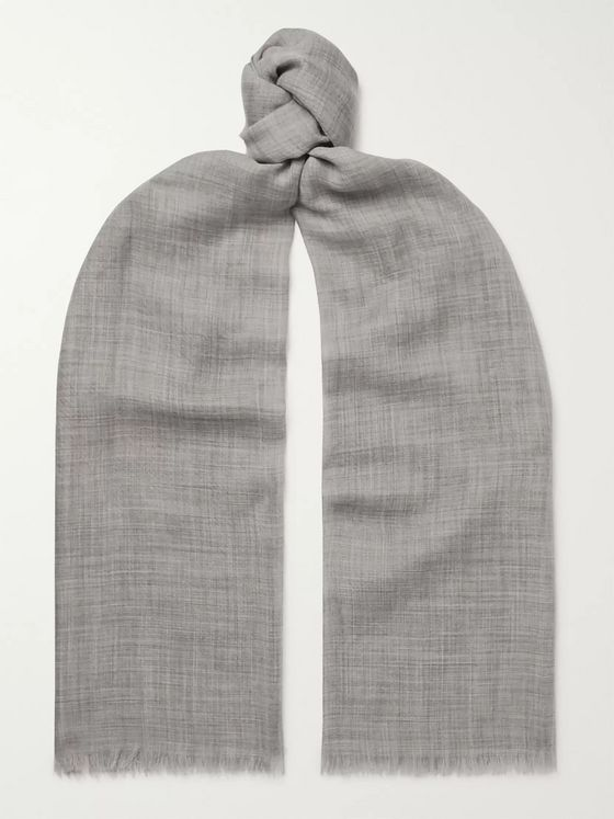 Begg & Co Fringed Polka-Dot Cashmere Scarf
