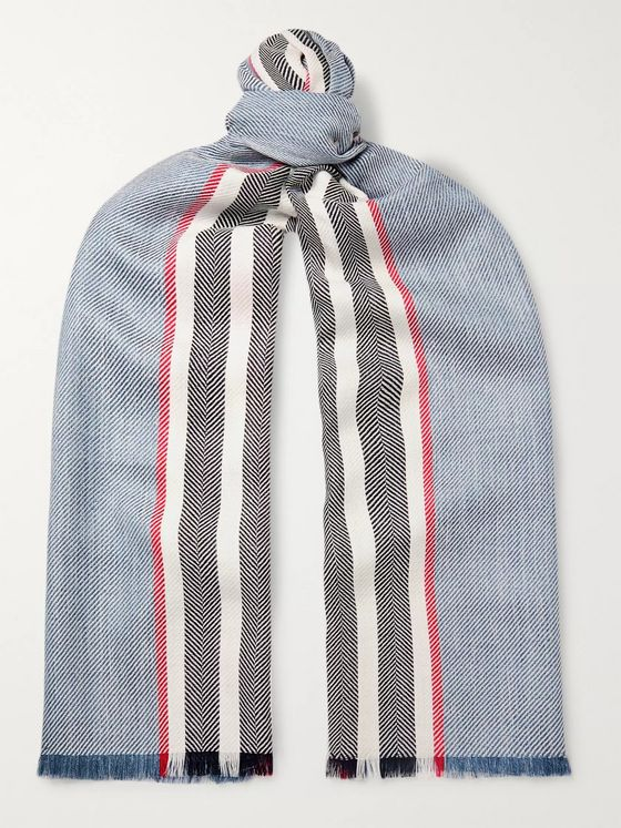 Johnstons of Elgin Fringed Striped Herringbone Wool, Silk and Linen-Blend Scarf