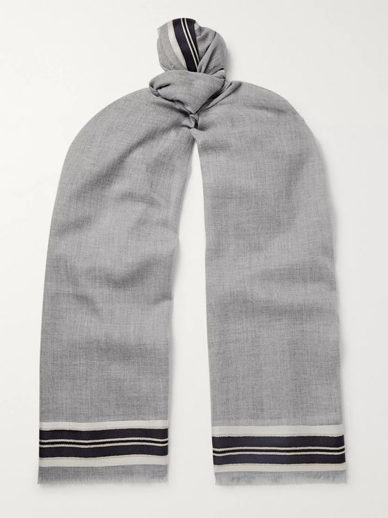 Johnstons of Elgin Fringed Striped Merino Wool, Cashmere and Silk-Blend Scarf