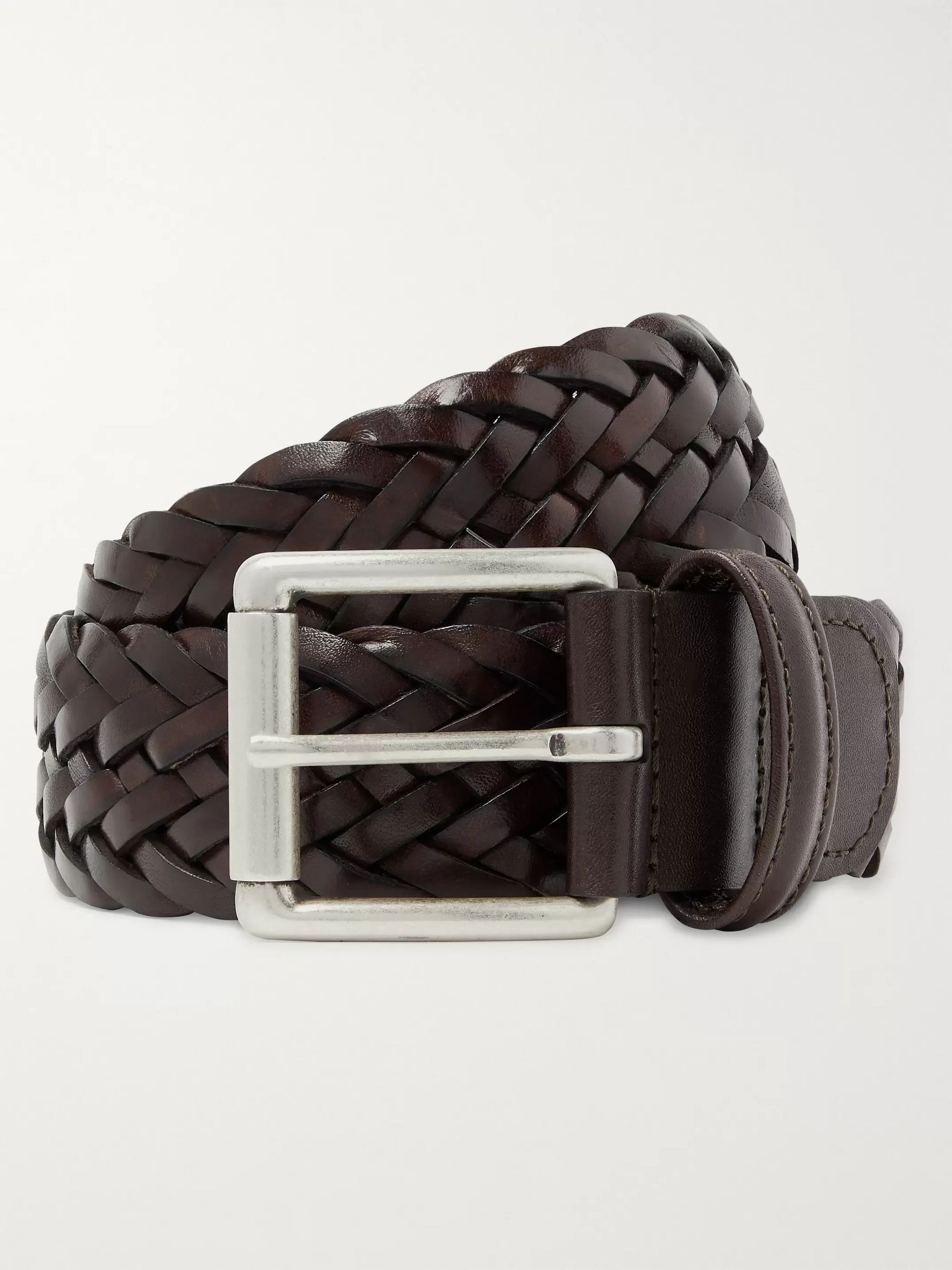 Anderson's 4cm Dark-Brown Woven Leather Belt