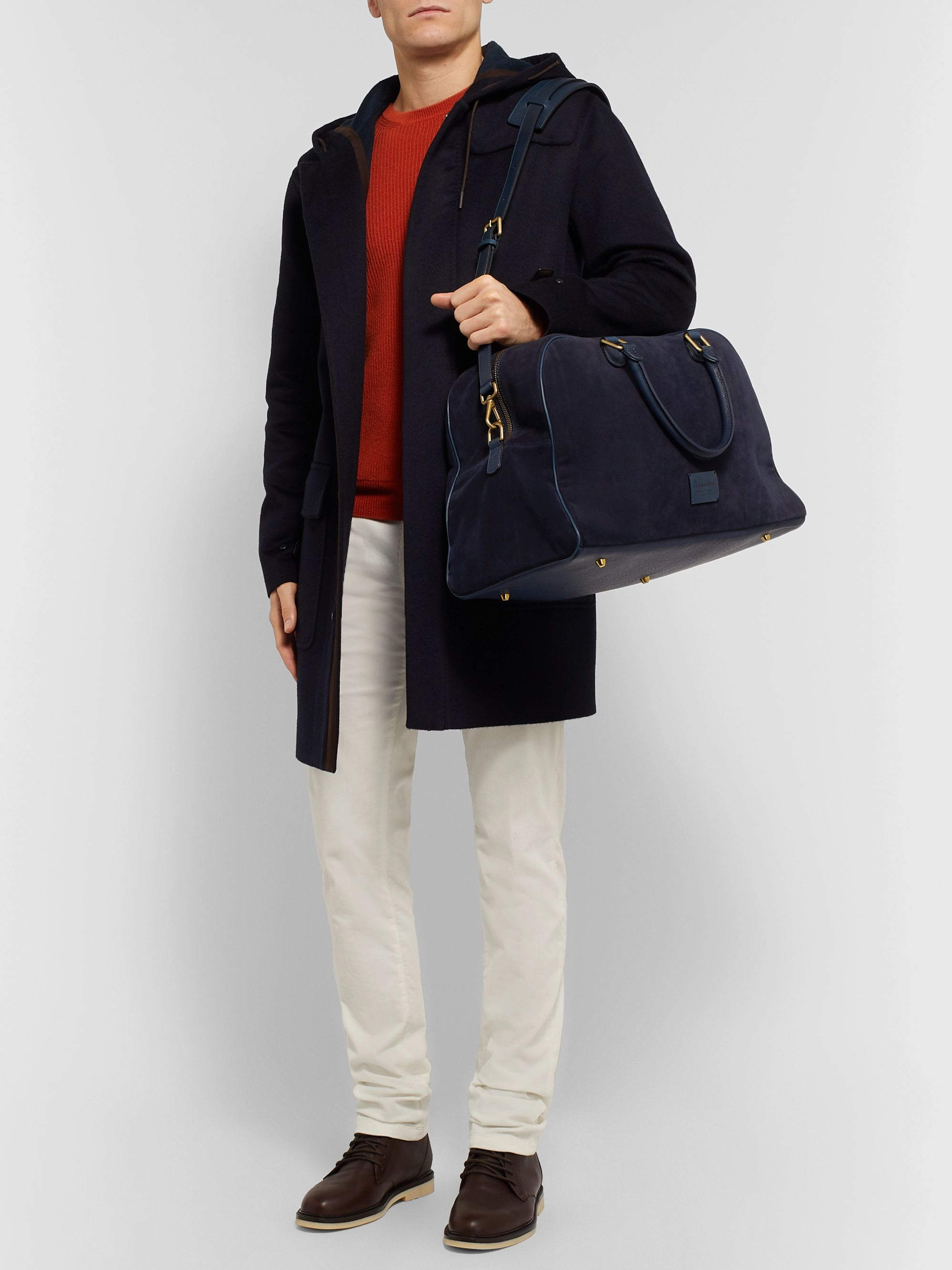 Anderson's Leather-Trimmed Suede Holdall