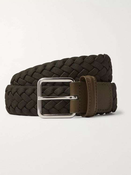 Anderson's 3.5 Army-Green Leather-Trimmed Woven Elastic Belt