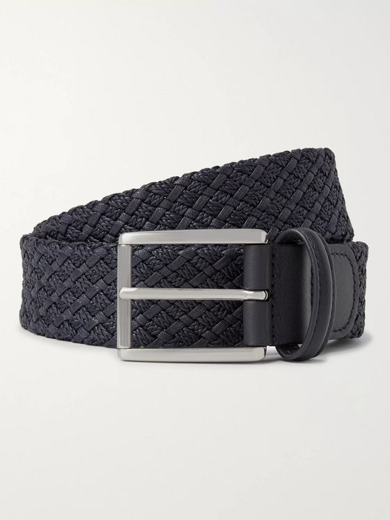 Anderson's 3.5cm Storm-Blue Leather-Trimmed Woven Waxed-Cotton Belt