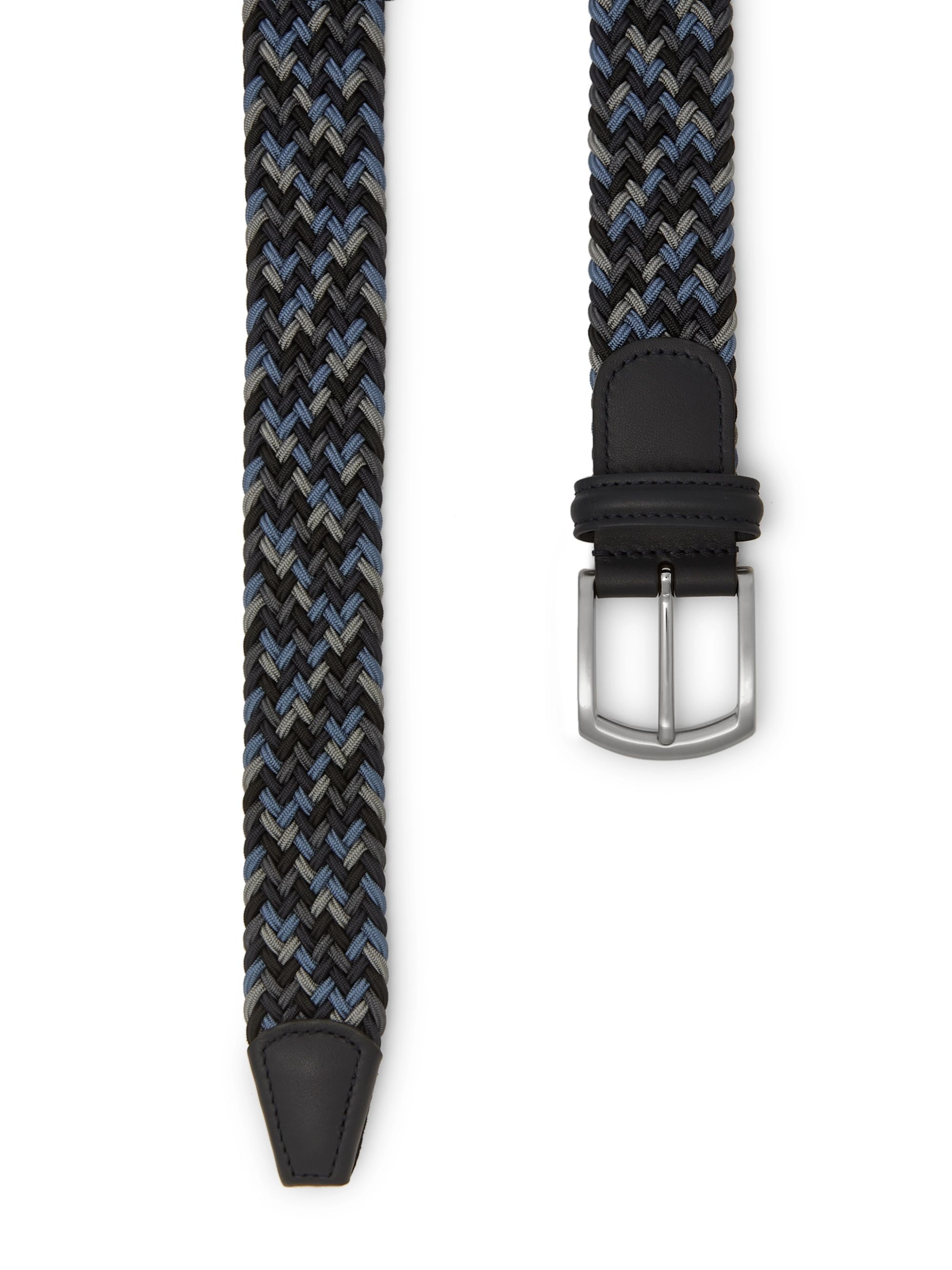 Anderson's 3.5 Navy Leather-Trimmed Woven Elastic Belt