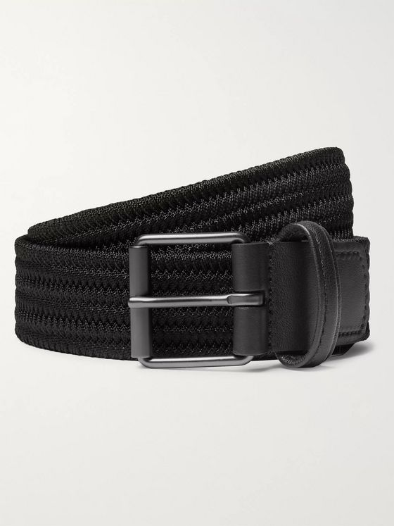 Anderson's 3cm Black Leather-Trimmed Woven Elastic Belt