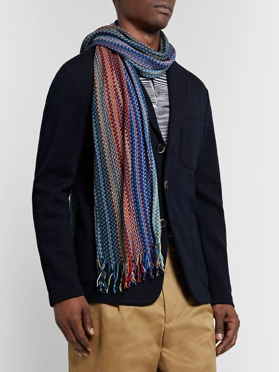 Missoni Fringed Crochet-Knit Striped Wool Scarf