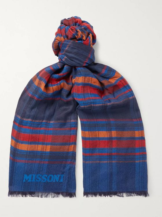 Missoni Striped Fringed Cotton and Silk-Blend Scarf
