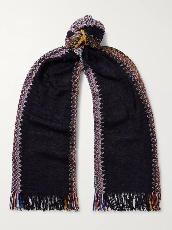 Missoni Fringed Crochet-Knit Cotton Scarf