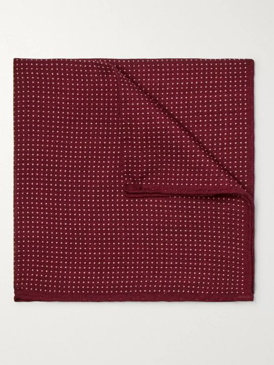 Anderson & Sheppard Pin-Dot Wool and Silk-Blend Pocket Square