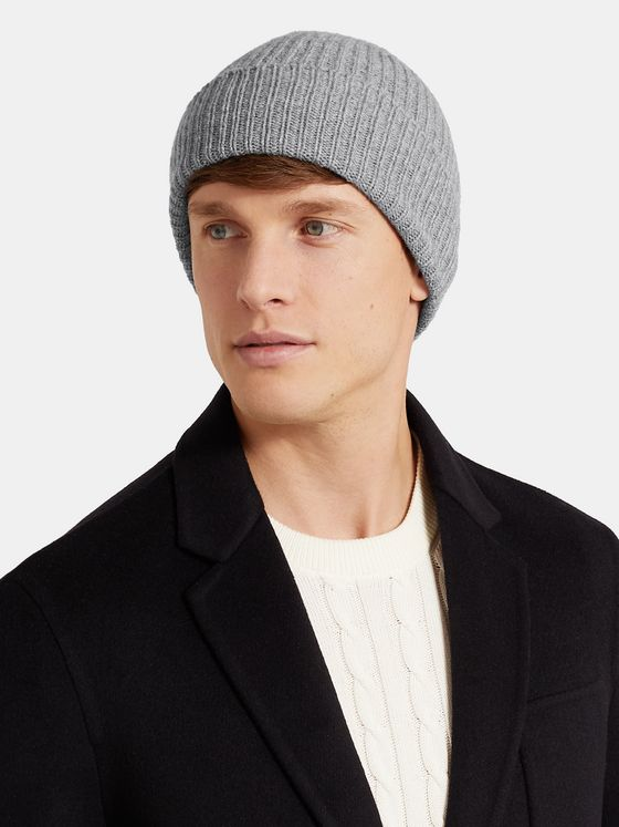 Anderson & Sheppard Ribbed Mélange Cashmere Beanie