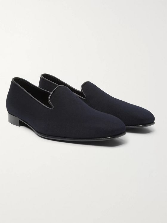 Anderson & Sheppard + George Cleverley Leather-Trimmed Cashmere Slippers
