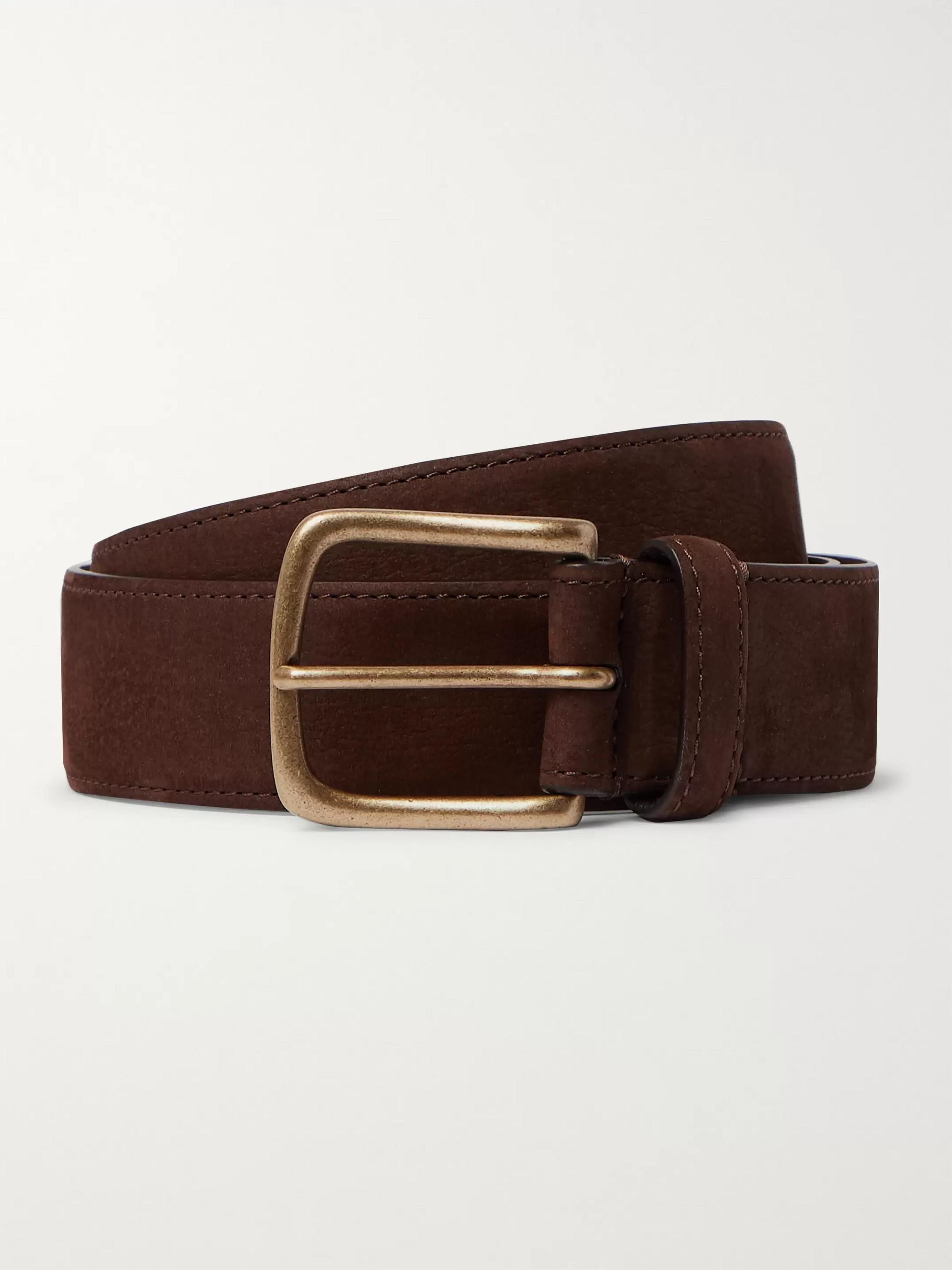 Anderson & Sheppard 3.5cm Dark-Brown Suede Belt