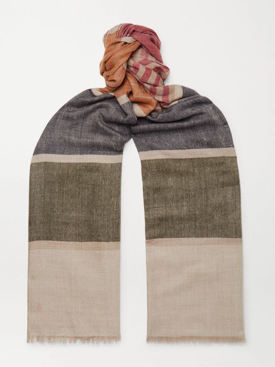 Anderson & Sheppard + Camoshita Fringed Striped Cashmere Scarf