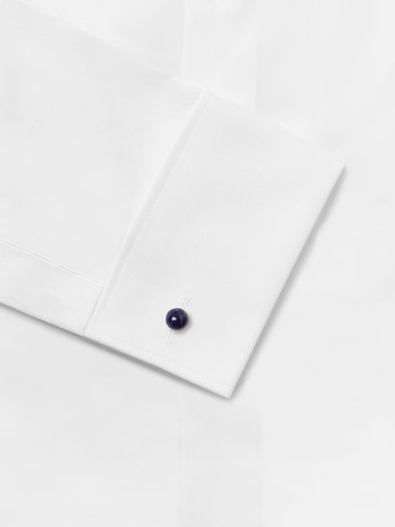 Lanvin Rhodium-Plated Onyx and Sodalite Cufflinks