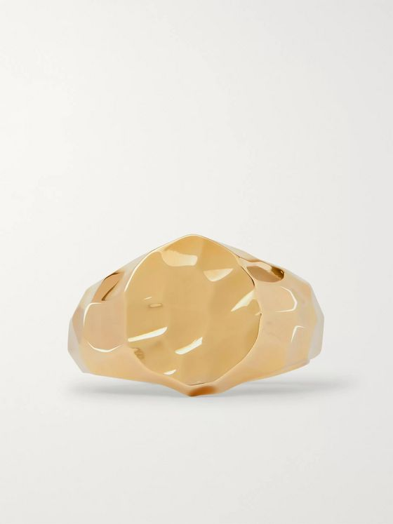 LAUD Hammered 18-Karat Gold Signet Ring