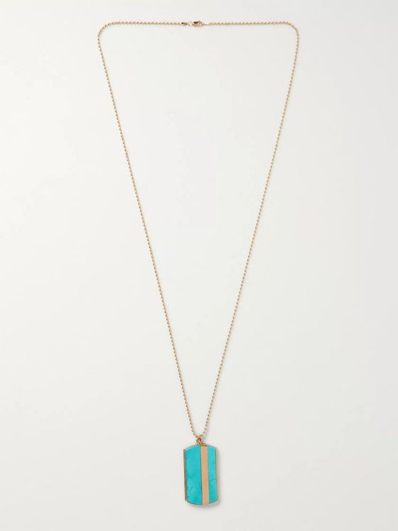 Peyote Bird Turquoise and 14-Karat Gold-Filled Necklace