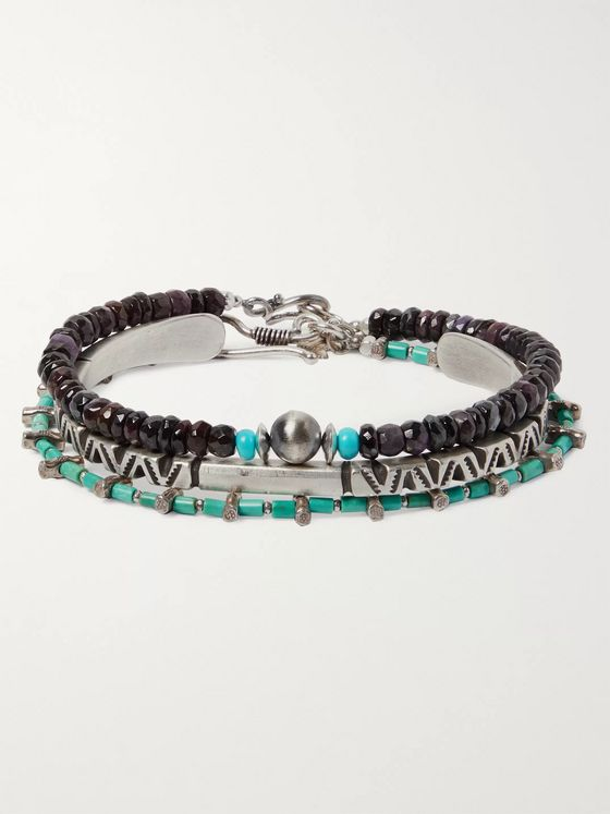 Peyote Bird Set of Three Sterling Silver, Turquoise and Sugilite Bracelets