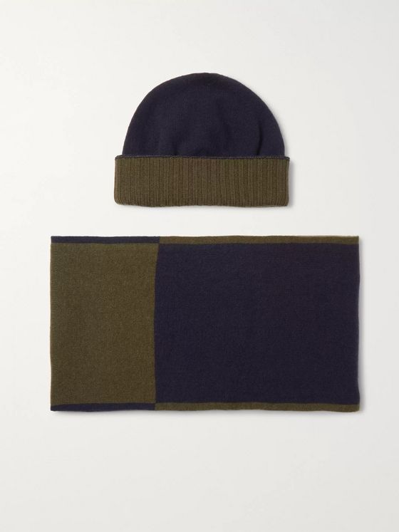 Johnstons of Elgin Colour-Block Cashmere Hat and Scarf Set