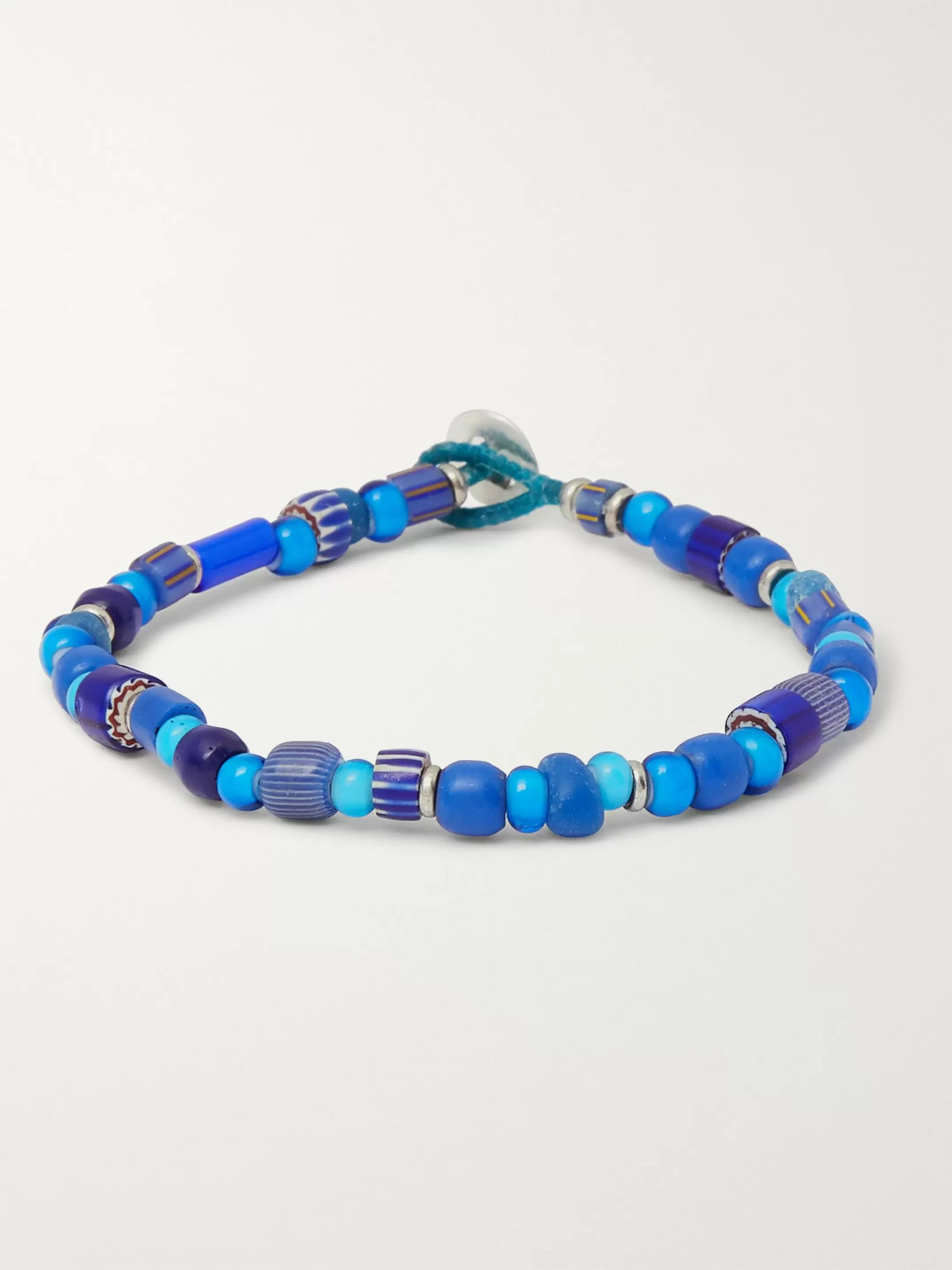 Mikia Glass, Silver and Cord Bracelet