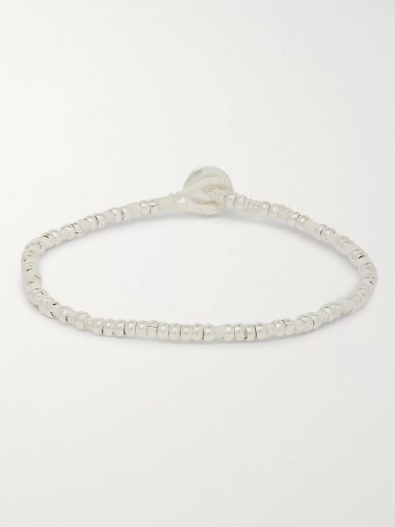 Mikia Howlite, Silk and Silver-Tone Beaded Bracelet