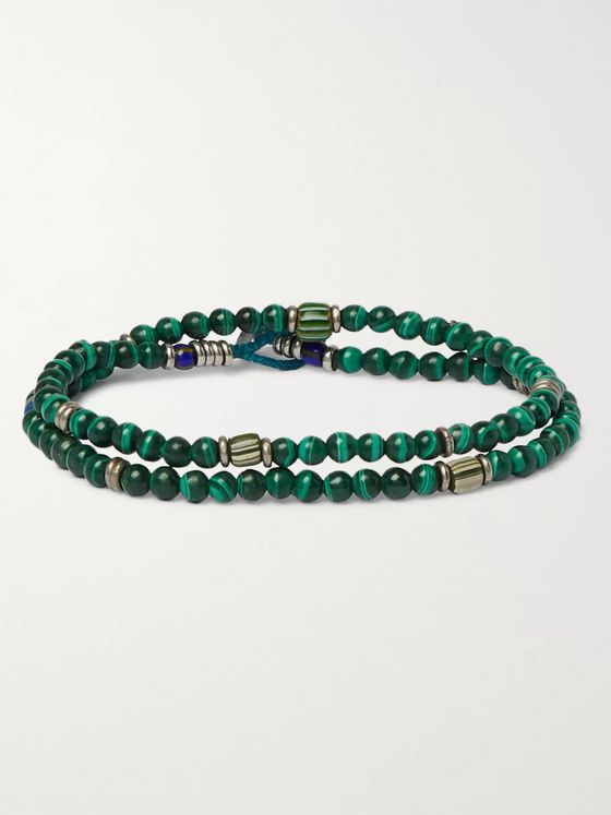 Mikia Malachite and Silver-Tone Beaded Wrap Bracelet