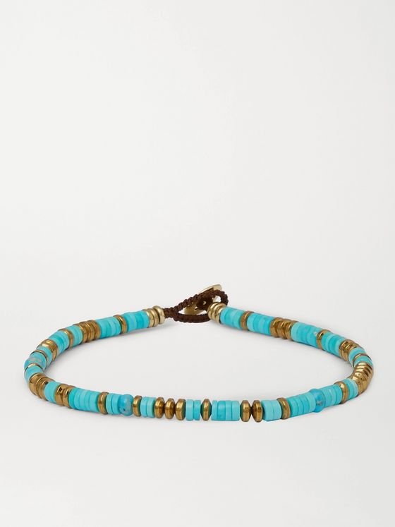 MIKIA Turquoise, Hematite and Gold-Tone Beaded Bracelet