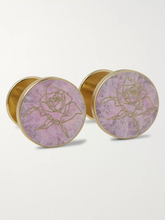 Alice Made This + Jessica Rose Bird Rose Patina Brass Cufflinks