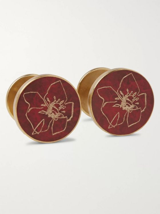Alice Made This + Jessica Rose Bird Poppy Patina Brass Cufflinks