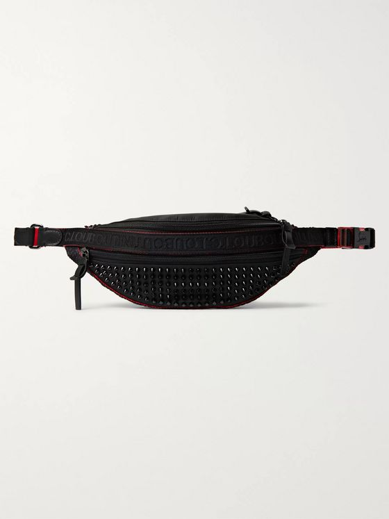 Christian Louboutin Studded Leather-Trimmed Nylon and Mesh Belt Bag